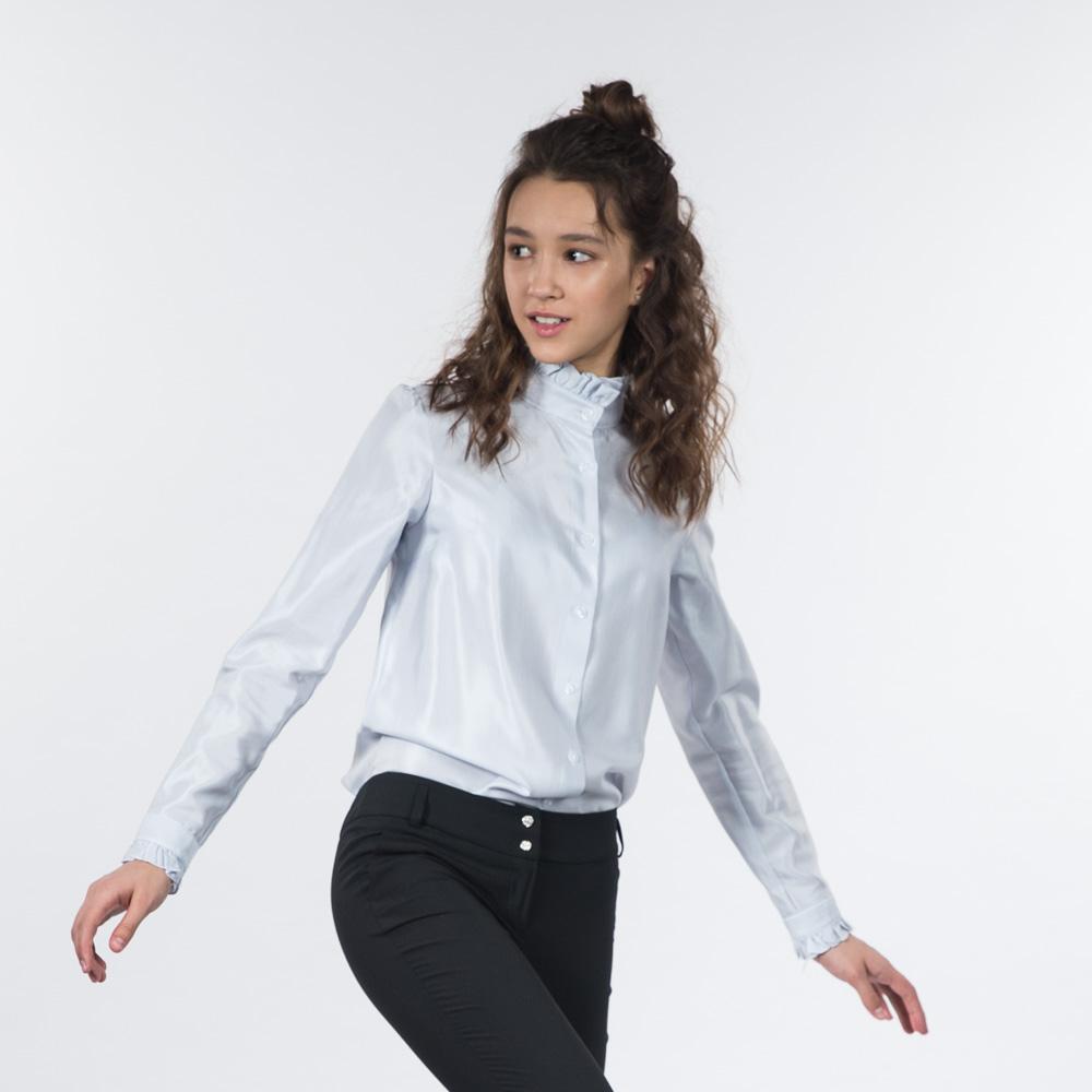 72d24a2ca60 Купить школьную блузку серого цвета с воротником-стойкой по цене ...